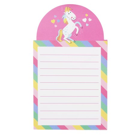 Way To Celebrate Valentine's Day Magnetic List Pad, Unicorn Keep track of your daily to do list in style with the Way To Celebrate Valentine's Day Magnetic List Pad. This lovely notepad features and adorable rainbow unicorn with lots of little hears over top of lined pink memo paper that's surrounded by a rainbow striped border; it is also magnetic, so you can easily hang it on your refrigerator or anywhere with a magnetic surface. Use it to keep track of your daily activities from grocery lists, chores, work notes, school notes, and more! It also makes a great gift for anyone that loves organization. Bring home the Way To Celebrate Valentine's Day Magnetic List Pad today!