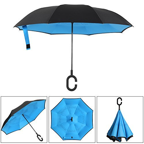 SLEPOPO Inverted Umbrella,Windproof UV Protection Big Straight Umbrella with C-Shaped Handle and Carrying Bag Animals Heads Double Layer Reverse