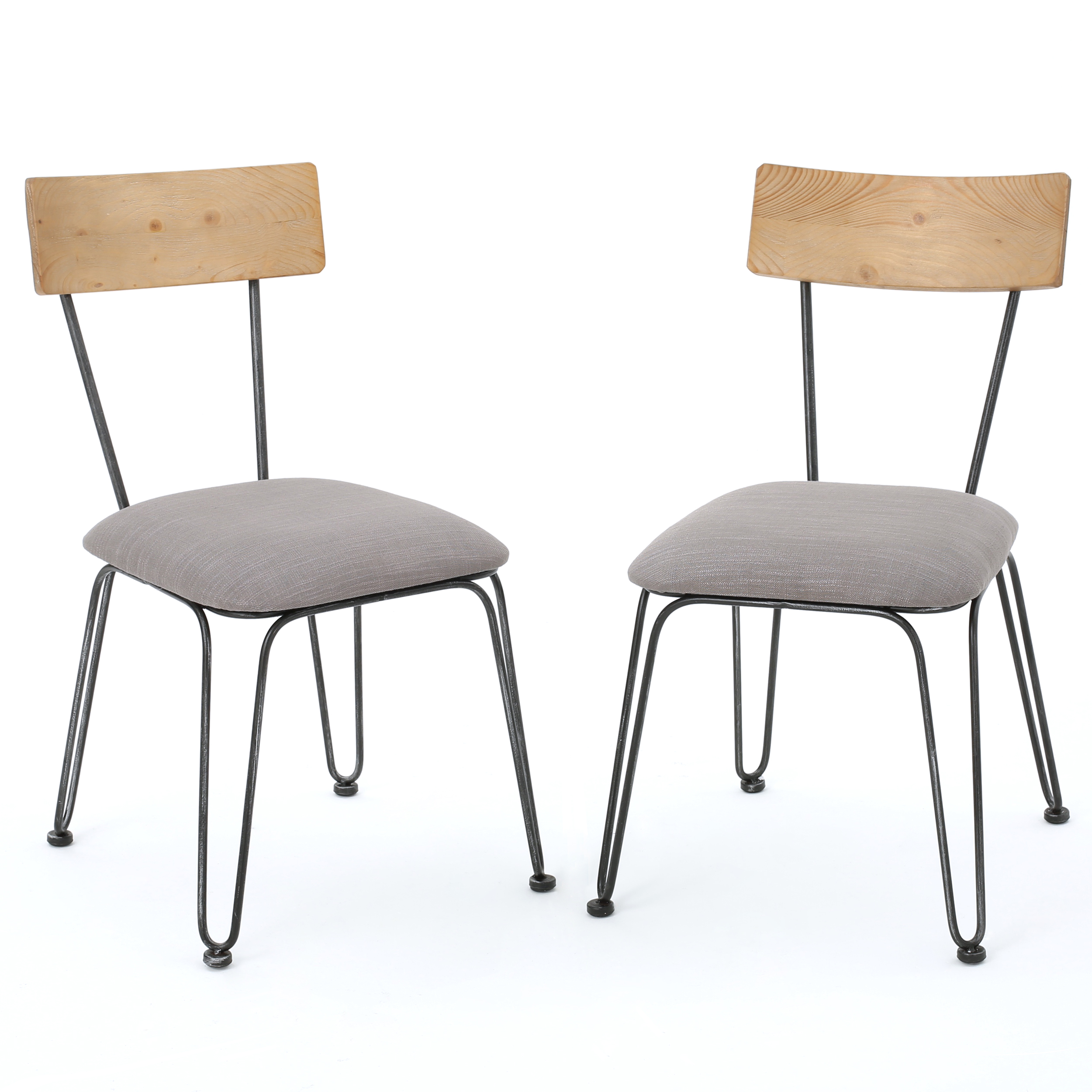 Poe Metal Chairs with Cushions, Set of 2, Black and Grey