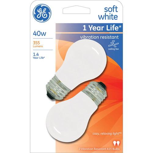 GE 40W Ceiling Fan A15 White Regular Base Bulb, 2-Pack