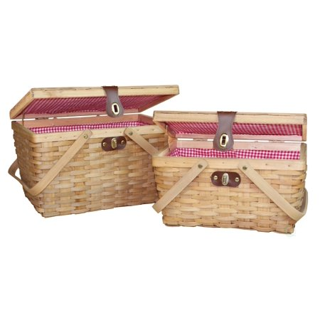 Gingham Lined Wood Picnic Baskets Set of 2 ()