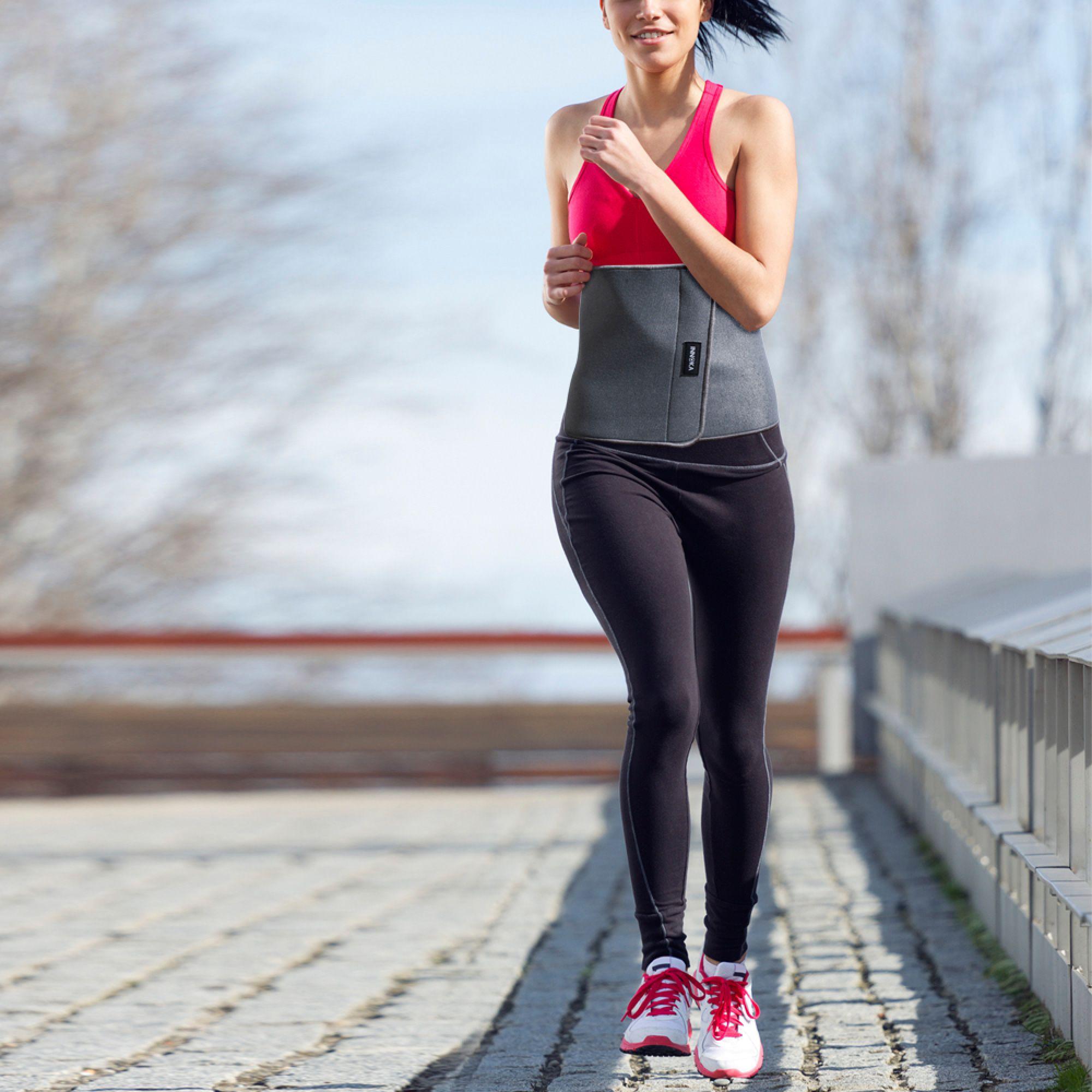 0d2a51f14eb INNOKA Fat Burning Waist Trimmer Gym Running Exercise Wrap Belt Shapewear  Sweat Weight Loss Body Shaper - Grey - Walmart.com