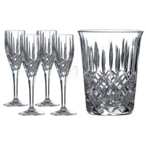 Waterford CHAMPAGNE ICE BUCKET WITH FLUTE SET/4