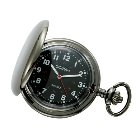Men's Gun Metal Black Dial Covered Quartz Pocket Watch with Chain # GWC15042BBK Chain Set Pocket Watch