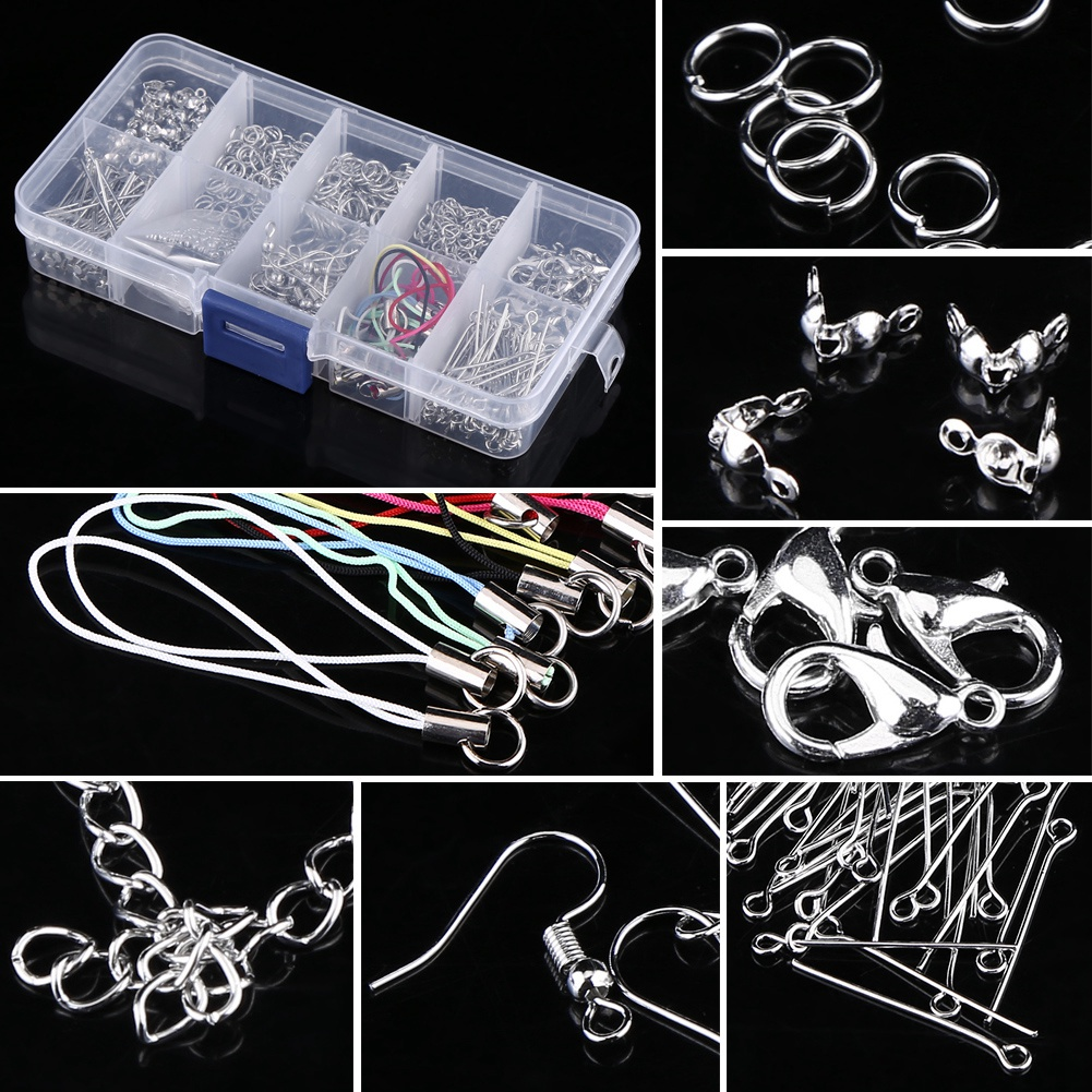 Jewelry Making Kits Set Head Pins Chain Beads Craft Accessories With Box , Jewelry Making Parts, Crafts Making Accessories