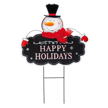 Happy Holiday Snowman Garden Stake - Staples Holiday Hours