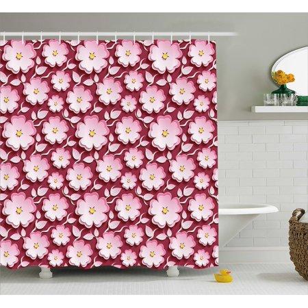 Floral Shower Curtain, Macro Flower Petal of Japanese Cherry Blossom ...