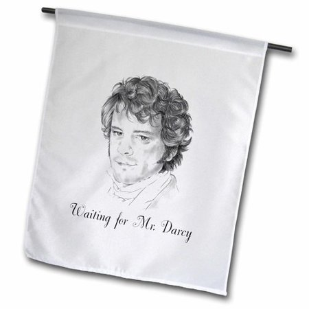 3dRose Waiting for Mr Darcy Pencil Illustration, Garden Flag, 12 by 18-Inch