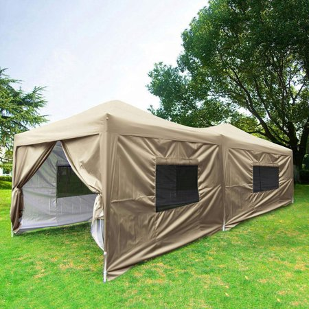 Ez Up Canopy 10x20 >> Upgraded Quictent 10x20 Ez Pop Up Canopy Tent Gazebo Party Tent With 6 Sidewalls Mesh Windows And Wheeled Bag Waterproof 6 Colors Beige