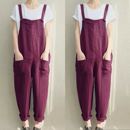 Fashion Womens Cotton Linen Sleeveless Dungarees Rompers Jumpsuit Loose Pants Overalls Playsuits