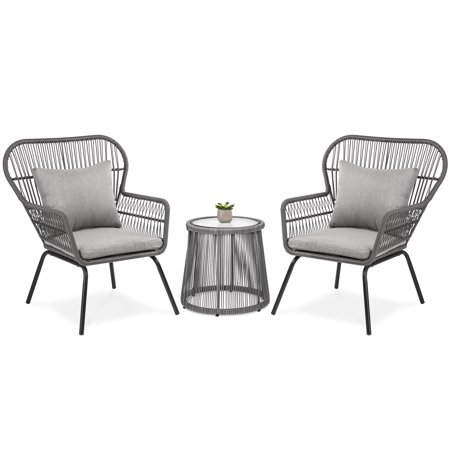 Best Choice Products 3-Piece Outdoor All-Weather Wicker Conversation Bistro Furniture Set with 2 Chairs and Glass Top Side Table,