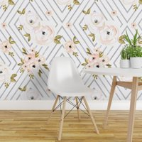 Peel-and-Stick Removable Wallpaper Watercolor Floral Diamond Peach Rose