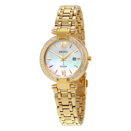 Gold Tone Pearl Wrist Watch - Solar Mother of Pearl Dial Gold-tone Ladies Watch SUT182