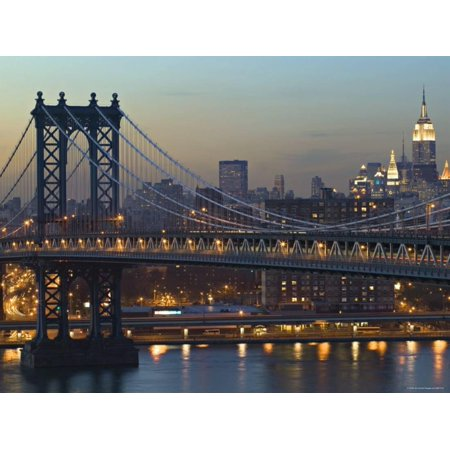 Manhattan Bridge And Empire State Bldg New York Usa Print Wall Art