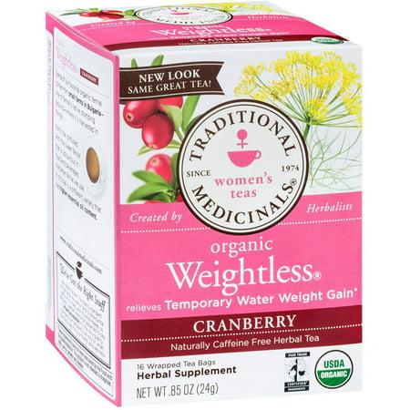 TRADITIONAL MEDICINALS Weightless organique Cranberry supplément à base de plantes thé, 16 comte, .85 oz (Pack de 3)