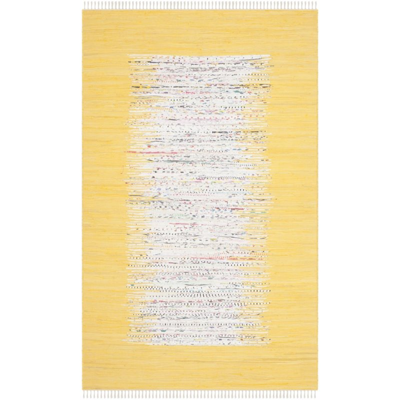 """Safavieh Montauk 2'3"""" X 6' Hand Woven Cotton Rug in Ivory and Yellow - image 1 de 1"""