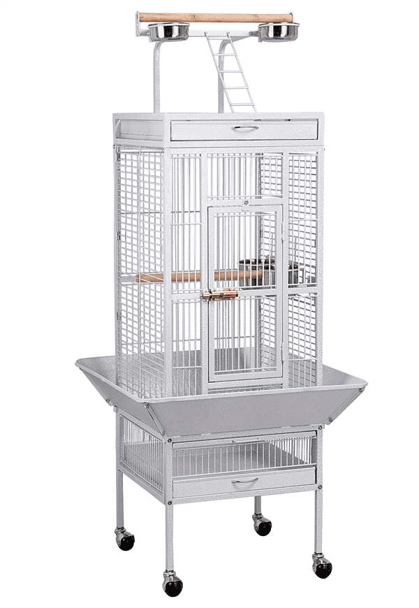 61'' White Rolling Metal Bird Cage w  Playtop for Cockatiel, Lovebird & Parrot by Yaheetech