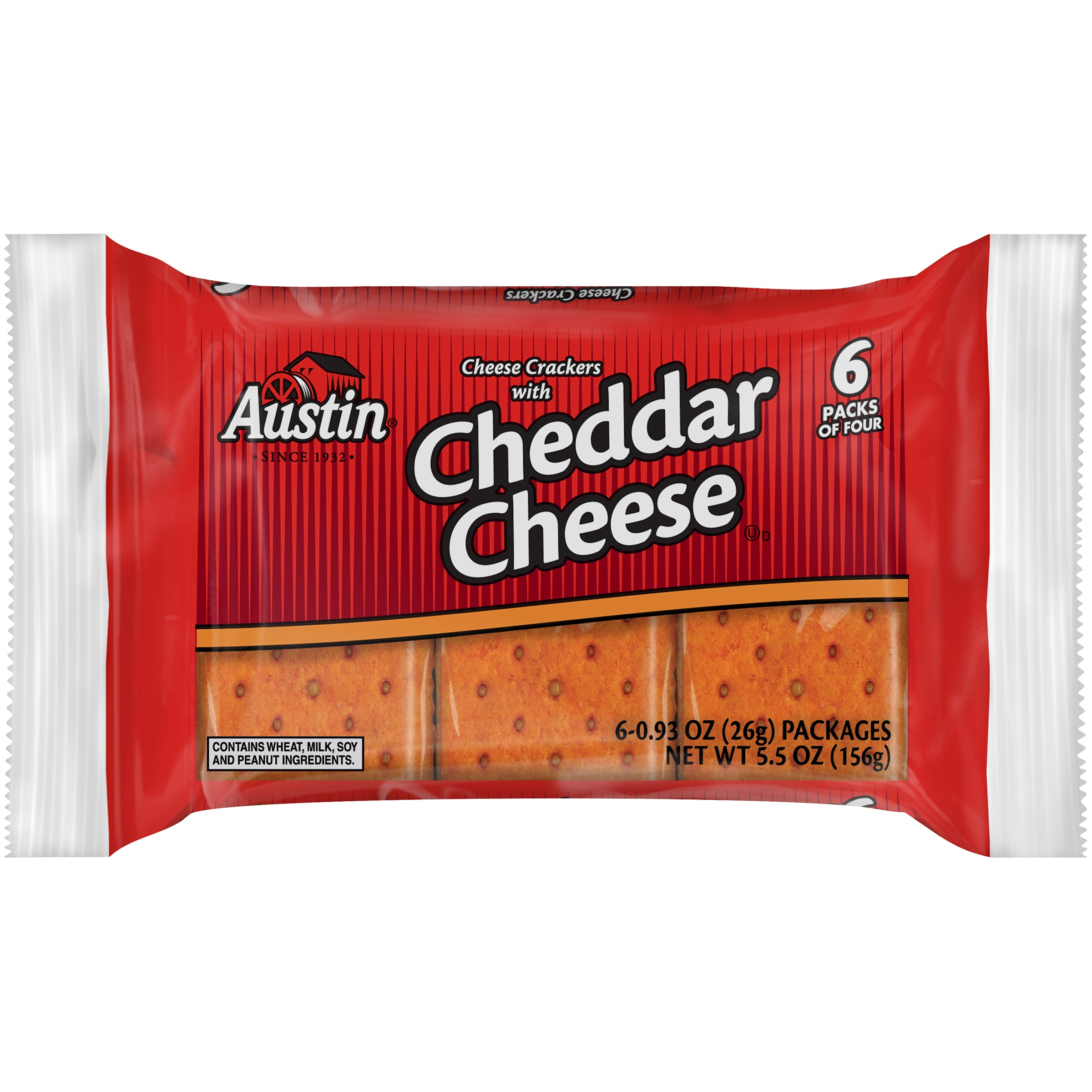 Austin Cheese Snack Crackers with Cheddar Cheese 6-4 ct. Packs