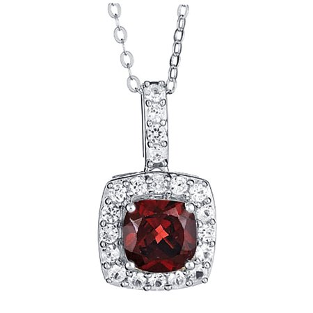 - Genuine 1.00 Carat 7mm Created Cushion Shaped Garnet with White Sapphire Necklace In 925 Sterling Silver.