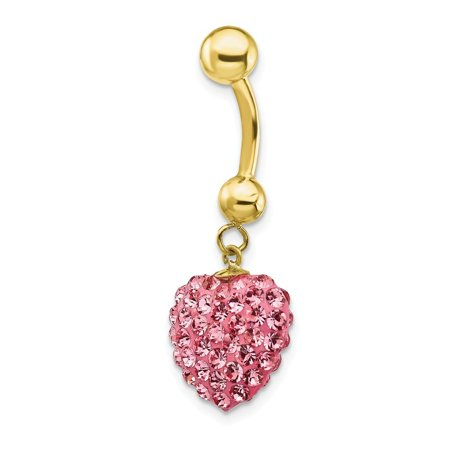 10k Yellow Gold With Dangle Pink Crystal Heart Belly Ring Dangle Crystal Heart Dangle Belly Ring