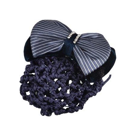 Dark Blue Velvet Bowknot Rhinestone Berrette Hair Clip w Snood Net