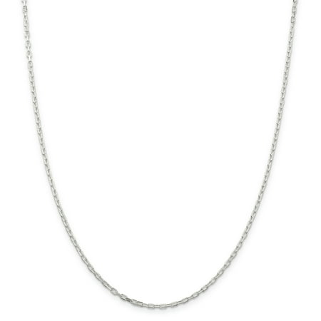 925 Sterling Silver 2.2mm Link Cable Chain Necklace 18 Inch Pendant Charm Elongated Sided For Women