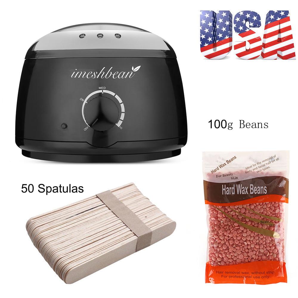 iMeshbean Wax Warmer Heater Pot Machine + 100g Waxing Beans + 50pcs Hair Removal Sticks, Heat Pot + 100g Azulene