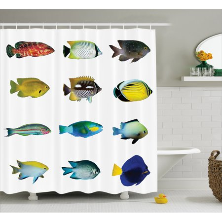 Fish Shower Curtain, Egyptian Fish with Bannerfish Goldfish Parrotfish Wildlife Nature Red Sea Theme Image, Fabric Bathroom Set with Hooks, Multicolor, by Ambesonne