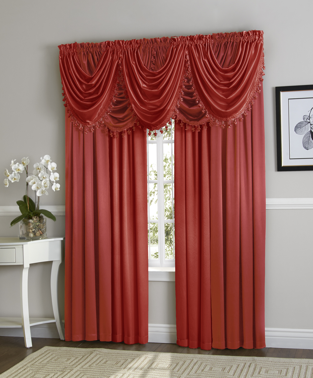 Hyatt Window Curtain & Fringed Valance Complete 9 Piece Window Treatment Set Berry by