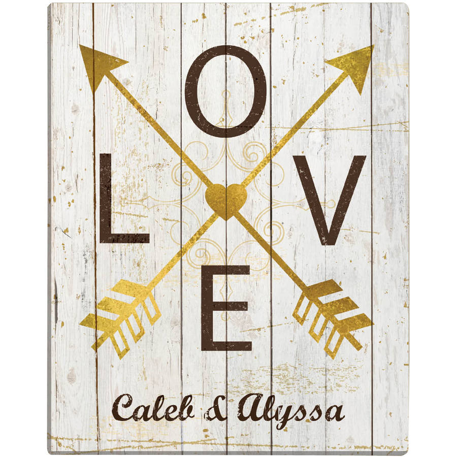 Personalized Love Arrows 11x14 Canvas