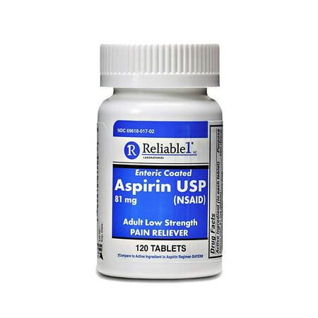 120 Enteric Coated Tablets - Reliable 1 Aspirin USP 81 mg (NSAID) 120 Enteric Coated Tablets (1 Bottle)