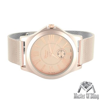 Pink Mesh Band Watch Rose Gold Tone Roman Numeral Dial Stainless Steel Back