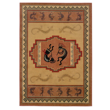 United Weavers Genesis Area Rugs - 130-41217 Southwestern Lodge Natural Kokopelli Lizard Border Rug (Genesis Polyester Rug)