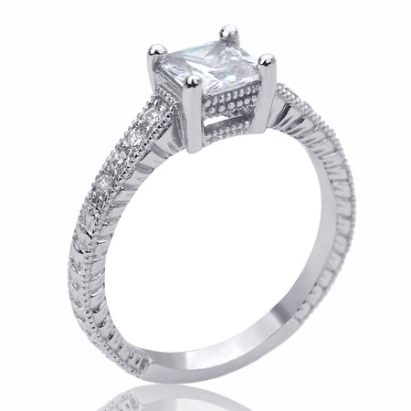 Men Women Sterling Silver 6mm Vintage Style Square CZ Solitaire Engagement Ring ()