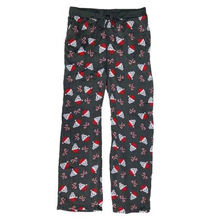 0c3f4bd2588f7 Ugly Christmas - Mens Candycane Skulls Christmas Microfleece Lounge Sleep  Pants Pajama Bottoms - Walmart.com