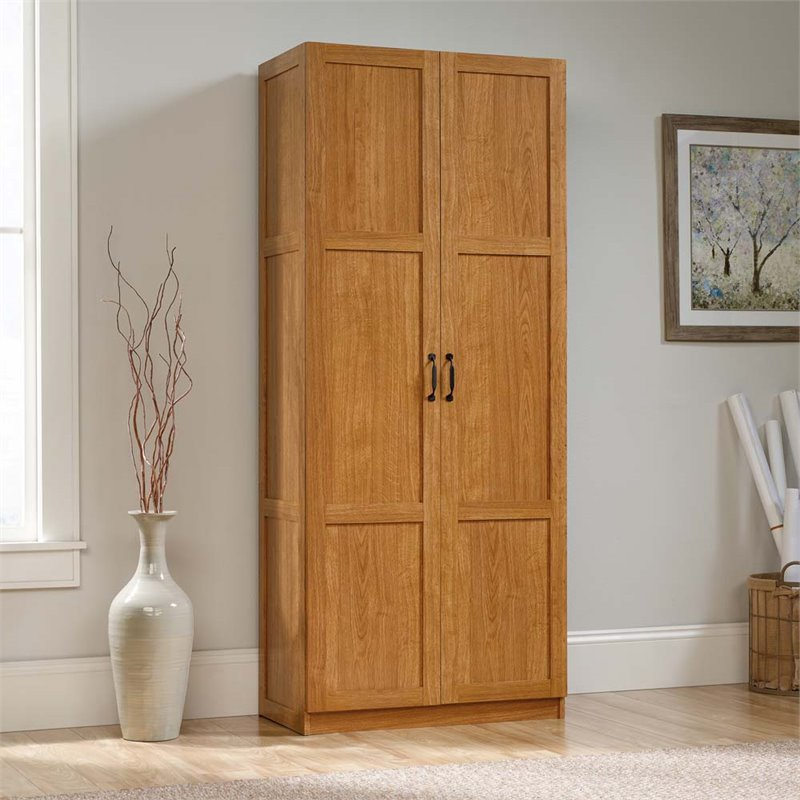 Sauder Storage Cabinet, Highland Oak Finish