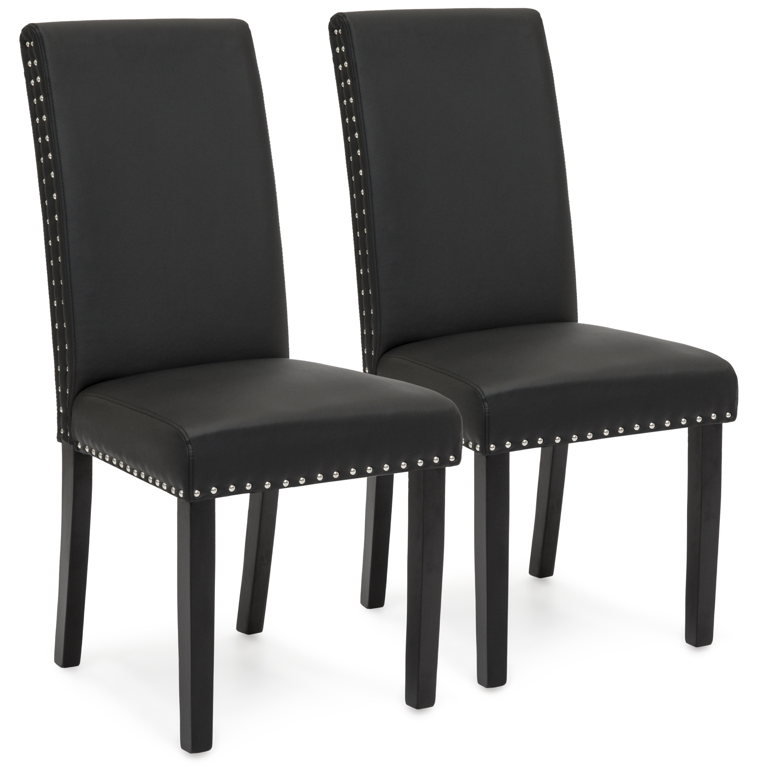 Best Choice Products Set Of 2 Studded Faux Leather Parsons Dining Chairs    Black