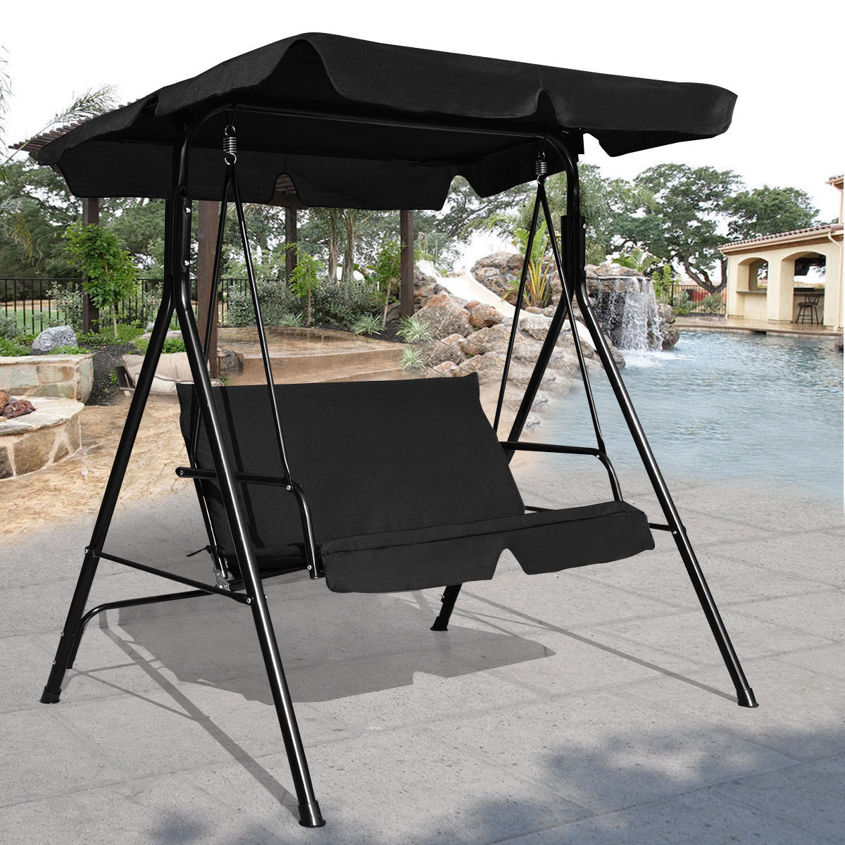 Costway Loveseat Patio Canopy Swing Glider Hammock Cushioned Steel Frame Outdoor Black