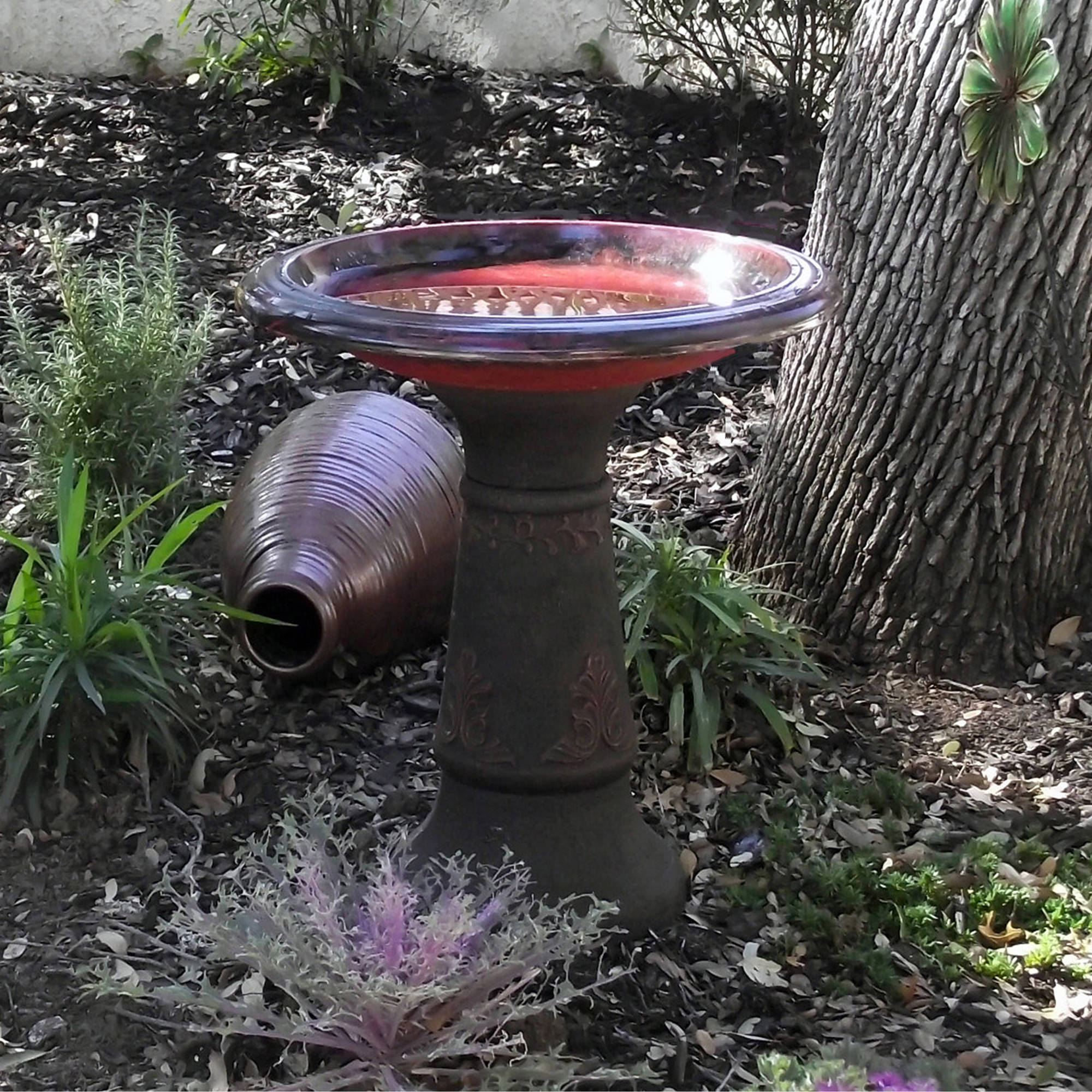 Scroll Vine Marbelized Bird Bath, Dark Red
