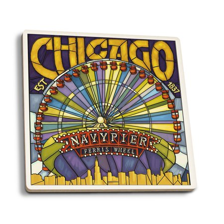 Chicago, Illinois - Navy Pier and Ferris Wheel - Lantern Press Artwork (Set of 4 Ceramic Coasters - Cork-backed, Absorbent)