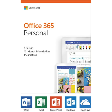 Microsoft Office 365 Personal | 12-month subscription, 1 person, PC/Mac Key Card (Home Design Software Mac)