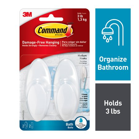Command Bath Hook, Frosted, Medium, 2 Hooks, 2 Strips/Pack