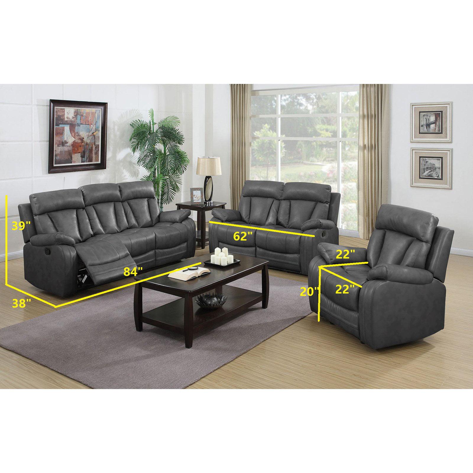 NH Designs 72004B Gray Bonded Leather Sofa Recliner & Loveseat Set