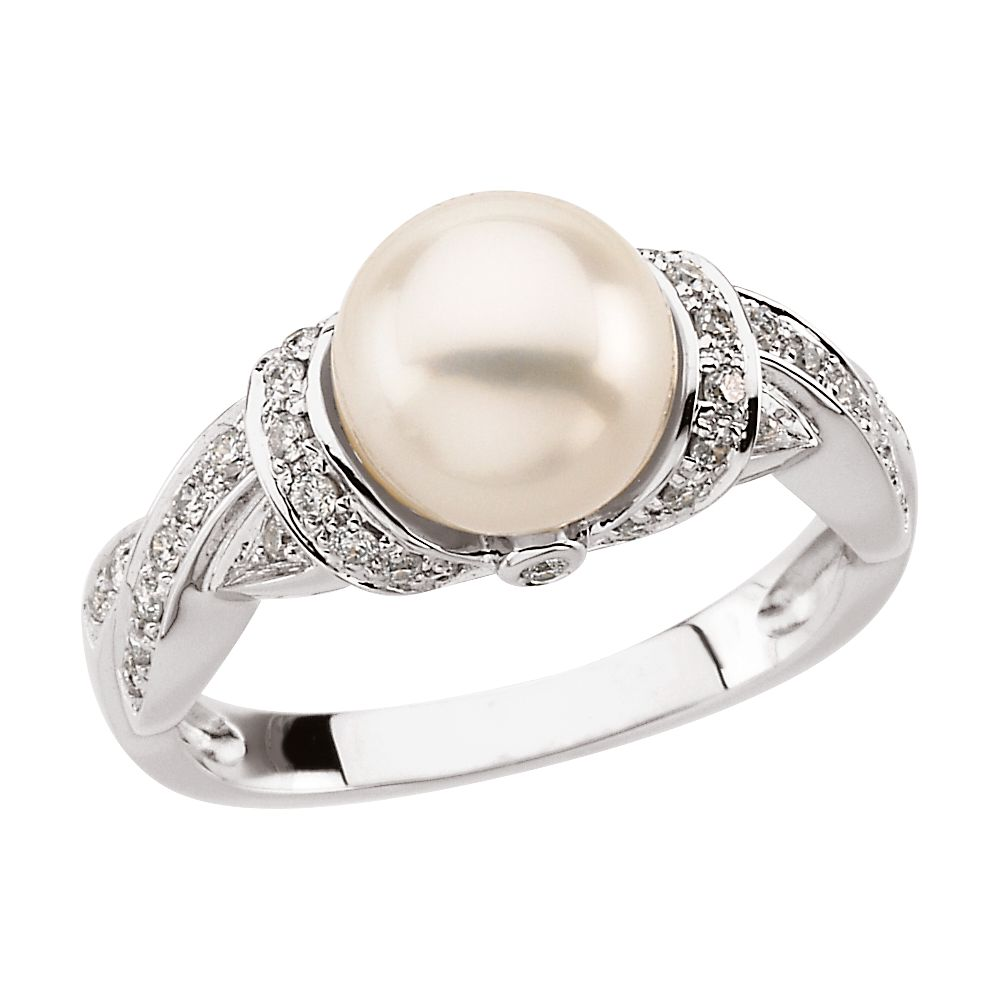 14k Yellow Gold Freshwater Pearl & 1 4 Ct Diamond Ring by