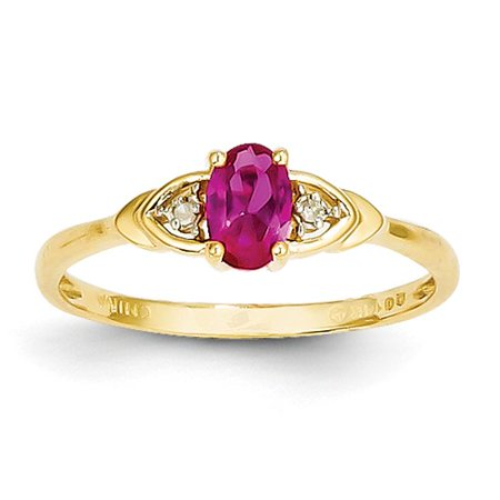 14k Yellow Gold 6x4 Oval Diamond & Genuine Ruby Ring. Gem Wt- (Unheated Oval Ruby)