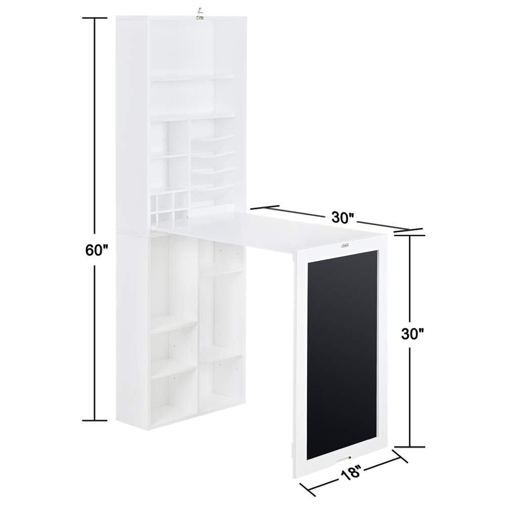 Utopia Alley Collapsible Fold Down Desk Table/Wall Cabinet With Chalkboard  And Bottom Shelf, White   Walmart.com
