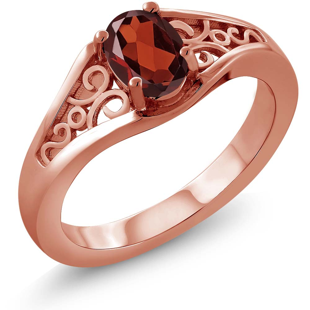 0.90 Ct Oval Red Garnet 925 Rose Gold Plated Silver Ring