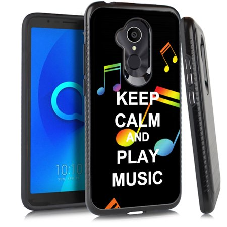 For Alcatel 7 Case, OneToughShield ® Dual Layer ShockProof Protector Phone Case with Brushed Texture - Keep Calm Music (Mnh Telephone)