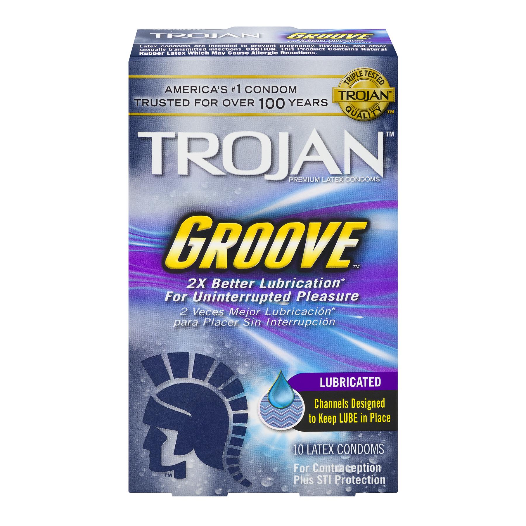 Trojan Groove Lubricated Latex Condoms - 10 ct