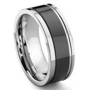 Titanium Kay Black Tungsten Carbide Two Tone Comfort Fit Mens Wedding Band Ring with Grooves Sz 10.0